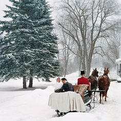 winter sleigh ride in the snow