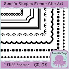 Clip Art Frames Simple Shapes Freebie - 7 Frames for Commercial Use - Ink n Little Things Free Frames, Borders And Frames, Arabesque, Zentangle, Doodle Borders, Easy Frame, Clip Art, Frame Clipart, Free Graphics