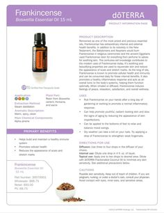 Frankincense product information page (PIP).  doTERRA.