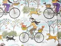 Dogs and Bicycles fabric | Flickr - Photo Sharing!