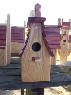 Small birdhouse made from cypress and cedar.