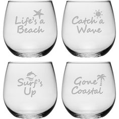 Enjoy an after-dinner merlot with this coastal-themed stemless wine glass, showcasing a sand-etched motto. Product: Set of 4 glassesConstruction Material:...