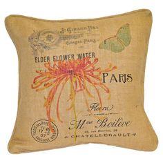 Burlap pillow showcasing a Parisian-inspired motif and garden-inspired details.  Product: PillowConstruction Materia...