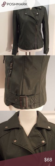 Max Studio MOTO Jacket Gorgeous deep forest green moto jacket. Sliver buckles on the sleeves and sides of this lovely jacket. Stylish addition for any fall and winter wardrobe. Never been worn. Excellent condition. Max Studio Jackets & Coats