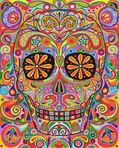 Shop Psychedelic Sugar Skull Pillow created by thaneeyamcardle. Personalize it with photos & text or purchase as is! Catrina Tattoo, Skull Pillow, Art Tumblr, Day Of The Dead Art, Sugar Skull Art, Sugar Skulls, Candy Skulls, Mexican Folk Art, Mexican Skulls