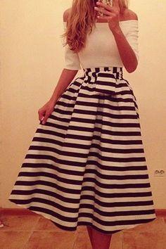 Stripe Spliced Slash Neck Dress