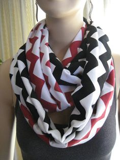 Cardinals Buccaneers Falcons Team Colors Red and Black Chevron Infinity Scarves by ChevronScarf on Etsy