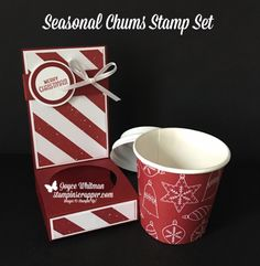 Merry Christmas Monday 2017 Week I love these little holders for the 4 oz cups and lids. I used the Labels to Love and Seasonal Chums stamp set along with the Be Merry designer series paper from Stampin' Up! These are perfect gift card holders and Mini Coffee Cups, Coffee Cup Holder, Coffee Cup Crafts, Coffee Gifts, Coffee Drinks, Coffee Mugs, Christmas Paper, Christmas Crafts, Merry Christmas