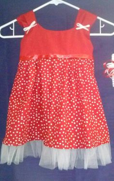 Red and white polka dot with tulle ruffel $25