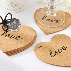 Heart Cork Wedding Coasters are a fun and useful wedding or bridal shower favor that your guests will truly appreciate. Heart Cork Coasters include four coasters made from cork with the word Creative Wedding Favors, Wedding Shower Favors, Baby Shower Favors, Wedding Reception, Party Favors, Wedding Ideas, Shower Party, Party Gifts, Wedding Table