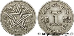 Piece de monnaie rare 1 franc marocaine, 1370-1951, 1000 dh