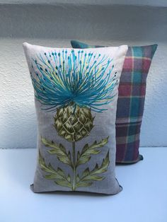 "Handmade Embroidered Thistle Cushion Cover 11""x18"" - Blue"
