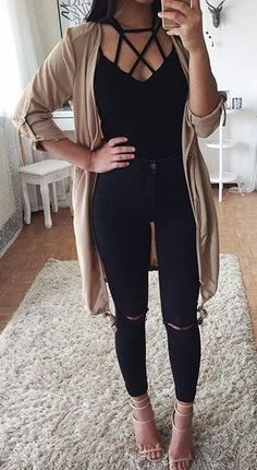 #summer #outfits  Beige Cardigan + Black Lace-up Top + Ripped Skinny Jeans