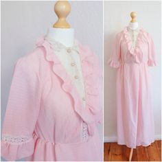 Vintage 1960's Pink Rosemary's Baby Ruffled Slip Dress by LAPraxis on Etsy