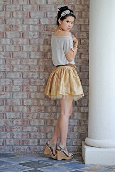 Jordan Taylor beachy cover-up, DKNY skirt, BCBGeneration wedges