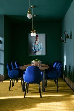 In/Out: Jaime Hayon for Barceló Torre de Madrid hotel - blue dining chairs #curtysfavs