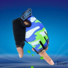 LongKeeper Sport Gloves For Kids Semi-finger Children Mittens Sky Pattern Boys Girls fingerless Gloves for 5-13 Years Kid G109