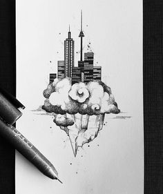 "Cool #surreal #architecture #illustration by Leonie Daub (@leonievond) of a skyscraper city floating in the clouds. I am uncertain what allows the towers and building to stay afloat on that large block of stone but I really like the way it looks! There's a great balance of shape and contrast to this piece. The industrial hard edges of the city work well with the organic flowing curves of the cloud and jagged ""peaks"" of the stone. And the dark tones of the city provide a nice visual…"
