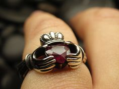 Natural Ruby claddagh ring in antiqued sterling silver. $183.00, via Etsy.