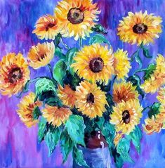 Image result for acrylic sunflowers