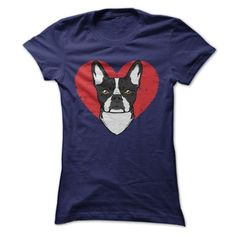 Here's a tee that needs no words because the picture says it all. There's your beloved Boston Terrier, right where he (or she) always is, in the middle of your