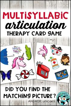 Practice multisyllabic words with this fun and fast-paced articulation game in your next speech therapy session. Get spontaneous productions with this card game!