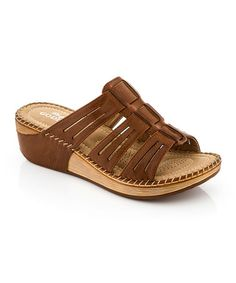 Look what I found on #zulily! Brown Cutout Strap Sandal by Lady Godiva #zulilyfinds