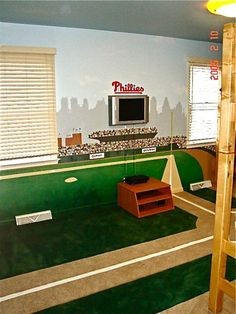 baseball room: Ask Brian to print Camden Yards FatHead for boys' wall :) Field scene w/warehouse in the background.