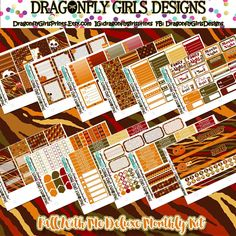 Fall With Me Deluxe Monthly Kit. Sheets also available for purchase individually.  DragonflyGirlsPrints.Etsy.com