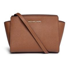 Michael Kors 'Selma' medium saffiano leather messenger bag ($265) ❤ liked on Polyvore featuring bags, messenger bags, bolsas, accessories, handbags, purses, brown, brown bag, courier bags and saffiano leather bag