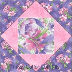 Garden Eden Pink Purple Flowers Floral Fabric Easy Pre-Cut Quilt Blocks Kit