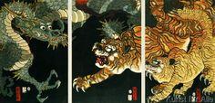 Utagawa Sadahide - A dragon and two tigers