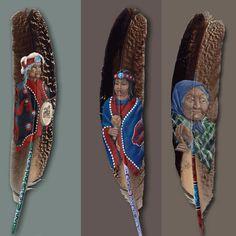 Peintures sur plumes...Chez Maya
