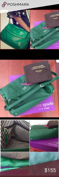 kate spade cobble hill minka green shoulder Xbody Lots of ways to carry: arm, shoulder or crossbody 👜 in great used condition 👜 some rubbing on the inner arm strap as shown in pic 👜 inside lining slight discoloration but clean. 👜 non smoking home 👜 comes with dust bag and box which maybe folded when shipped. kate spade Bags