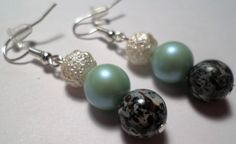 White and Teal Bead Dangle Earrings by MandyPandyGiftShop on Etsy