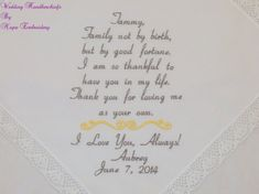 Embroidered Wedding Handkerchiefs for Step Mom by NapaEmbroidery