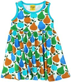032bc227ee7 Turquoise Fruits Sleeveless Dress with Gather Skirt in GOTS Certified Organic  Cotton from DUNS Sweden –