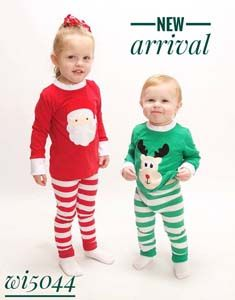 Santa Christmas pajamas top and pants sets Reindeer or Santa applique green  red… d9104f59e