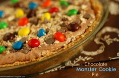 Chocolate Monster Cookie Pie - A Kitchen Addiction