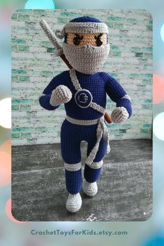Ninja doll Crochet PATTERN, Amigurumi toy for boy, PDF pattern in English