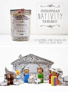 DIY Christmas Nativity Peg Dolls with Download via lilblueboo.com