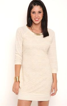 Deb Shops French Terry Tunic Dress with Lace Panel Front $15.00