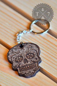 Sugar Skull Real wood key chain laser engraved FREE by StudioT7