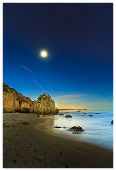 Matador Beach in California - the meeting of orion and the moon by John Truong Pictures, via Flickr