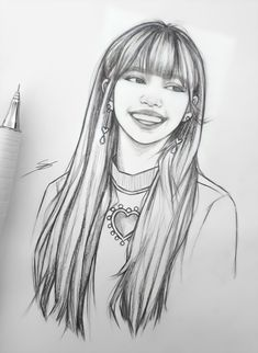 Pink Drawing, Girl Drawing Sketches, Girl Sketch, Art Drawings Sketches Simple, Pencil Art Drawings, Medical Drawings, Kpop Drawings, Mandala Art Lesson, Celebrity Drawings