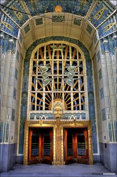 Building Entrance: McCarter & Nairne (Architects), Marine Building, Toronto, Canada, 1930.