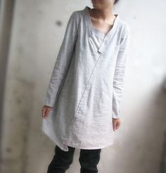 Lovely Asymmetrical Linen Dress/ 35 Colors/ Any Size/ by Ramies