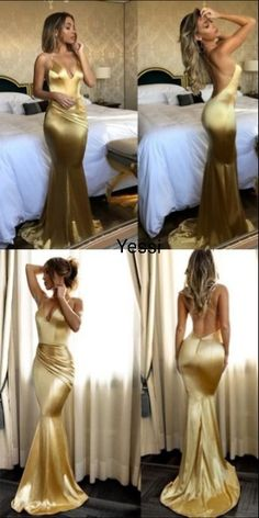 Fabulous Gold Mermaid Spaghetti Straps Long Prom Dresses With Short Train, - Wedding World Gold Prom Dresses, Prom Outfits, Cheap Prom Dresses, Mermaid Dresses, Satin Dresses, Ball Dresses, Sexy Dresses, Cute Dresses, Beautiful Dresses