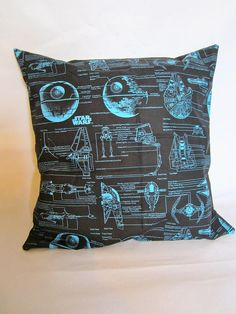 Star Wars blueprints large cushion by missfitclothing on Etsy, $20.00