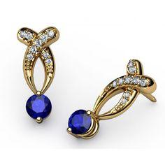 Bypass Sapphire Diamond stud Earrings in 18K Yellow gold (1.00 ct. tw.) - SAPPHIRE EARRINGS